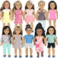 PZAS Toys 18 Inch Doll Clothes - Fits American Girl Doll Clothes- Wardrobe Makeover, 10 Outfits