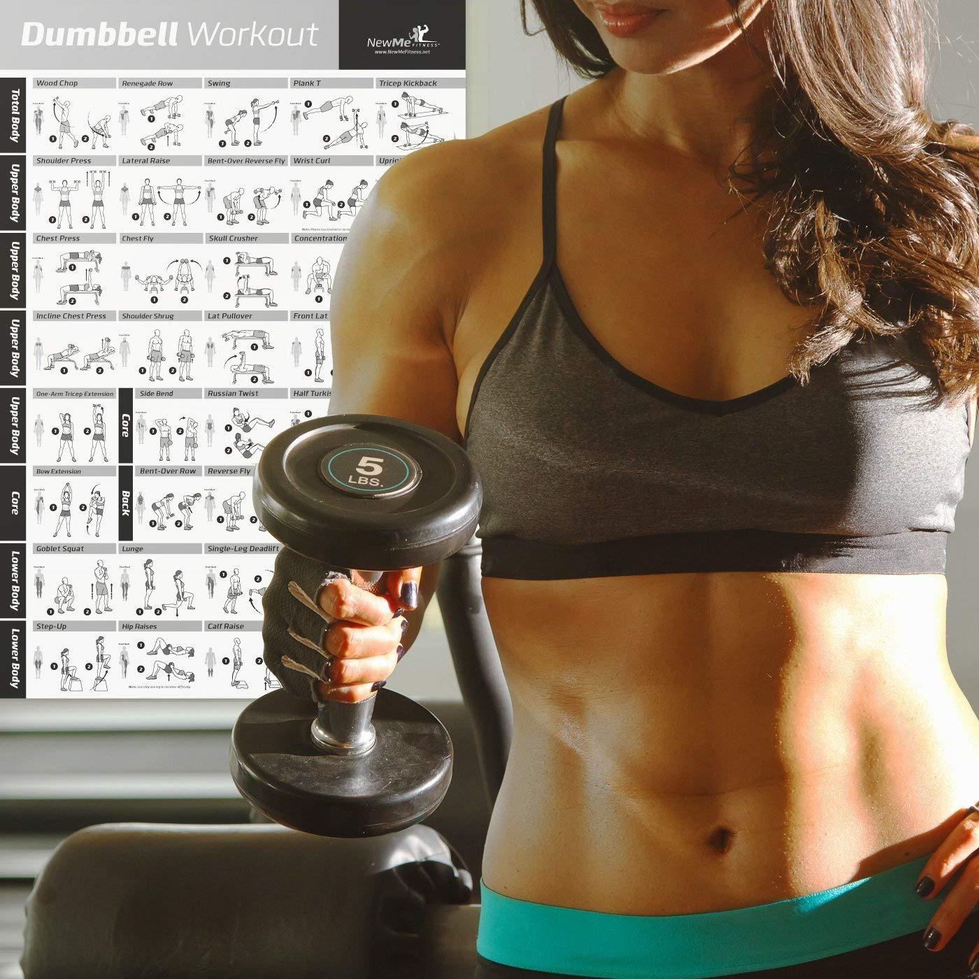 NewMe Fitness Mancuernas (Póster de Ejercicios 500 mm x 700 mm: Amazon.es: Deportes y aire libre