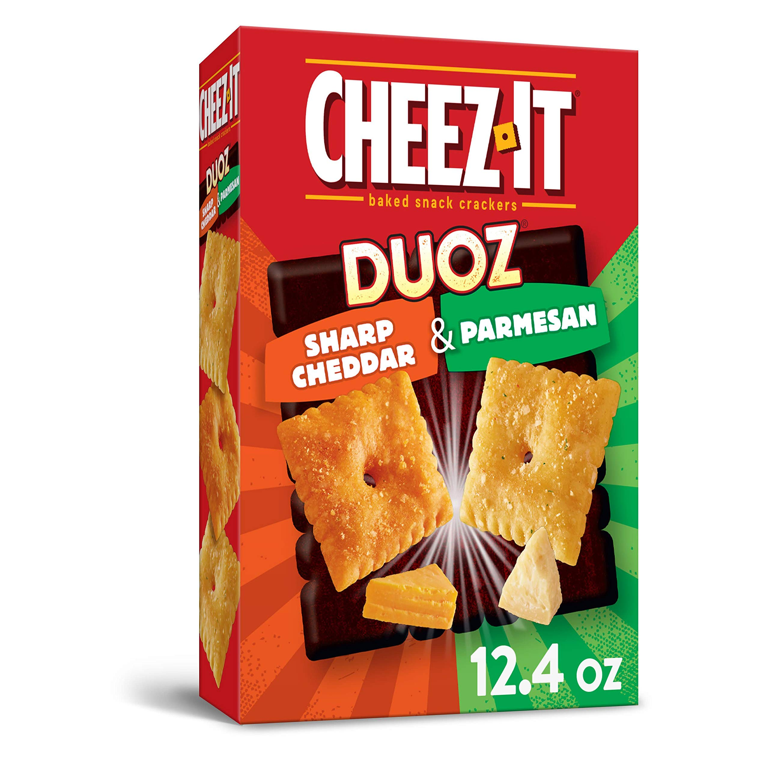 Cheez-It DUOZ Baked Snack Cheese Crackers, Sharp Cheddar and Parmesan, 12.4 oz/351 g One Box