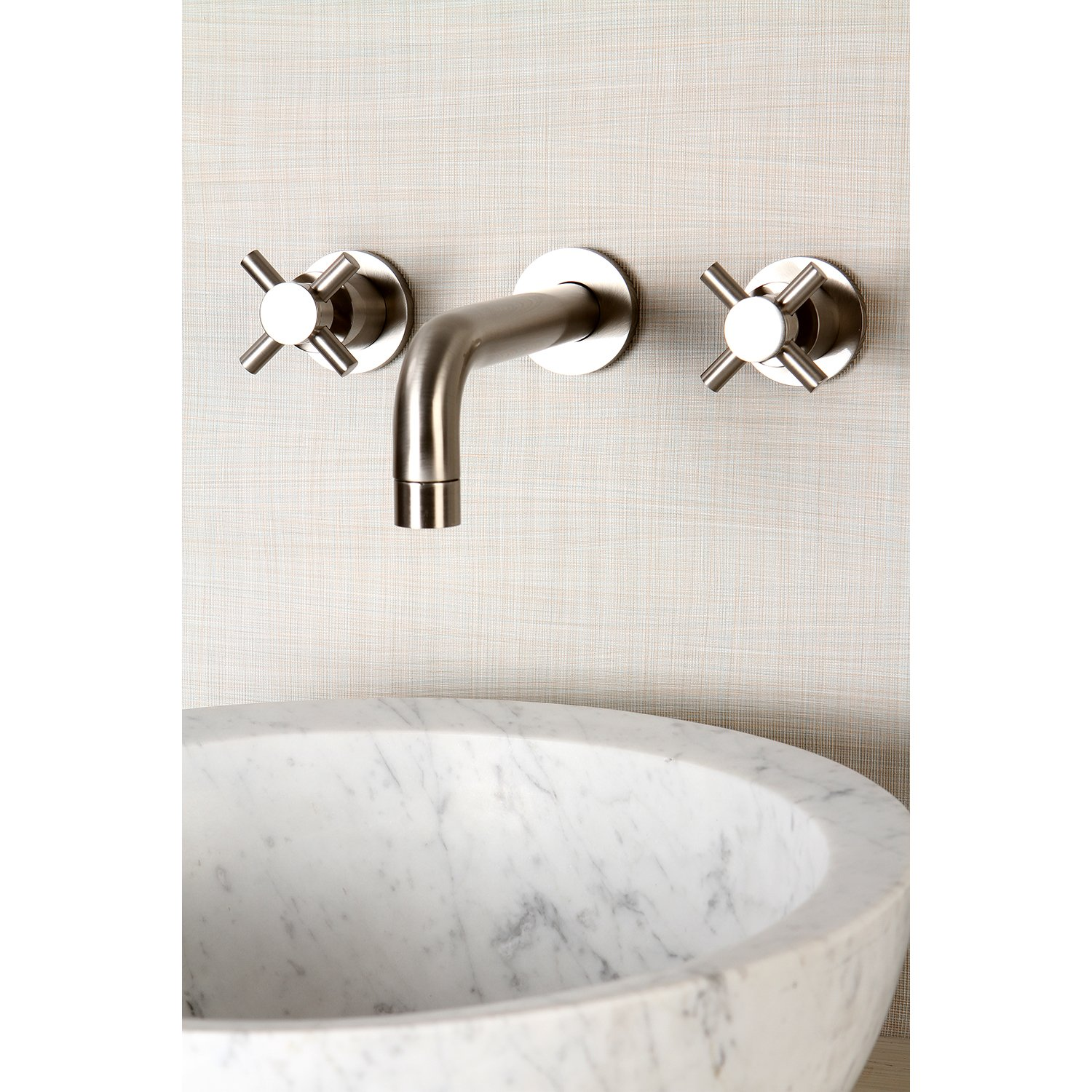Kingston Brass Ks8128dl Concord Wall Mount Twin Lever Handle Sink Faucet Water Supply Shutoff Valve Diagram Aaa Service Plumbing Satin Nickel Touch On Bathroom Faucets