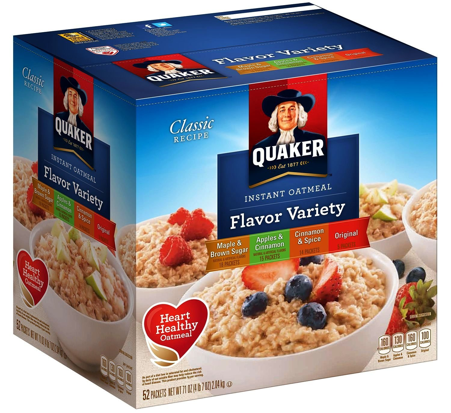 Quaker instant oatmeal, flavor multi 52-pack, maple brown sugar, apple cinnamon, cinn spice, original 71oz Box