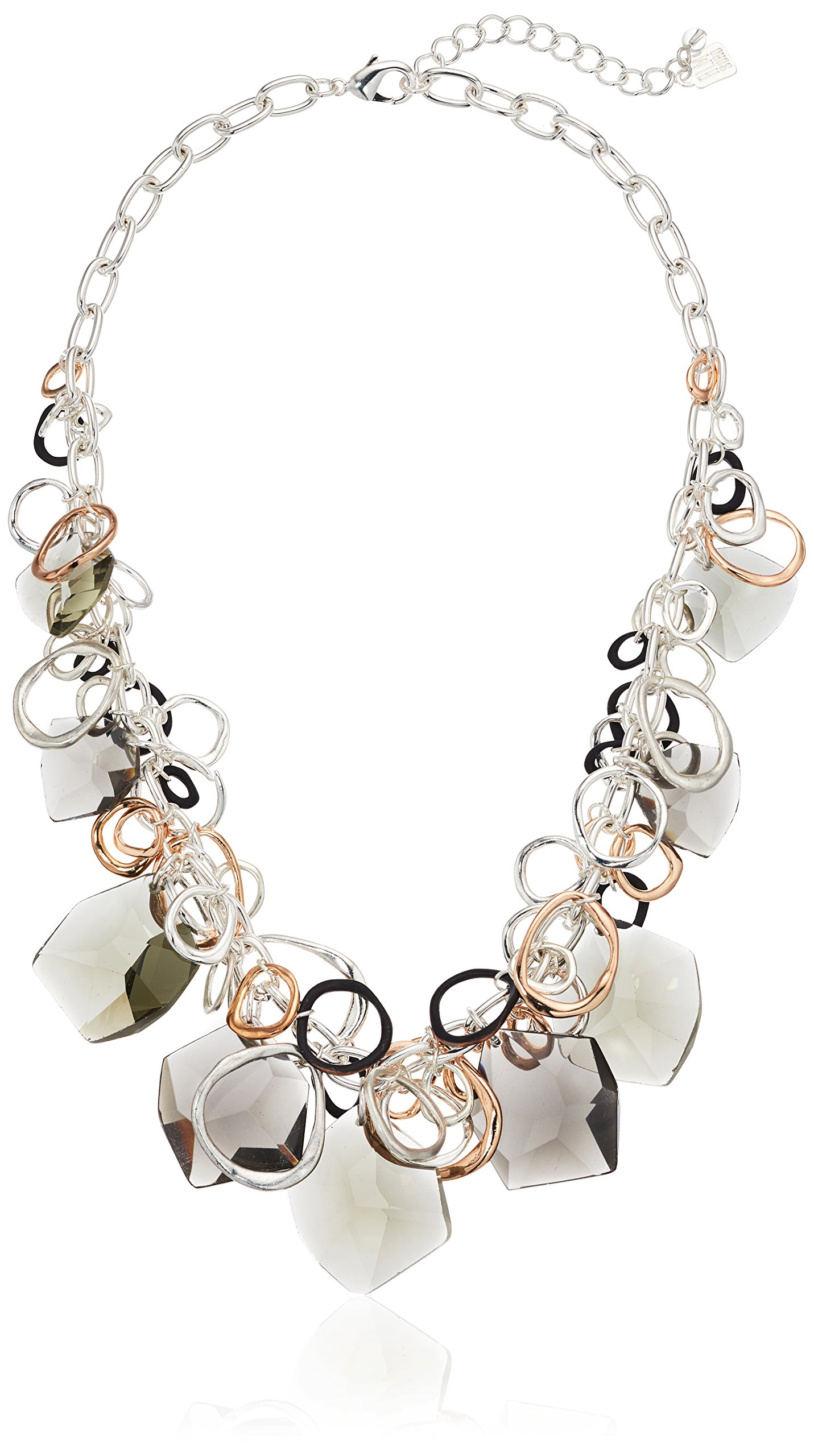 Robert Lee Morris Tri-Tone Chain and Black Diamond Link Frontal Necklace