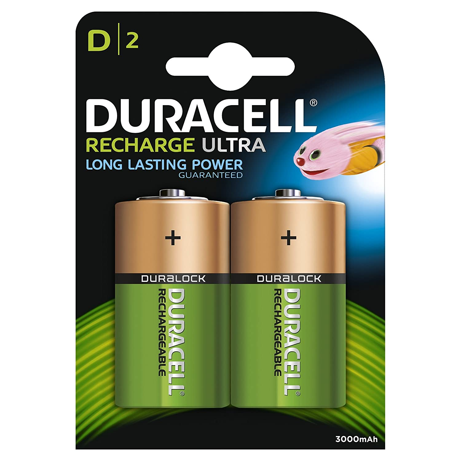 Twin Pack Duracell D 3000mAh Rechargeable Batteries HR20, LR20, MN1300, DC1300