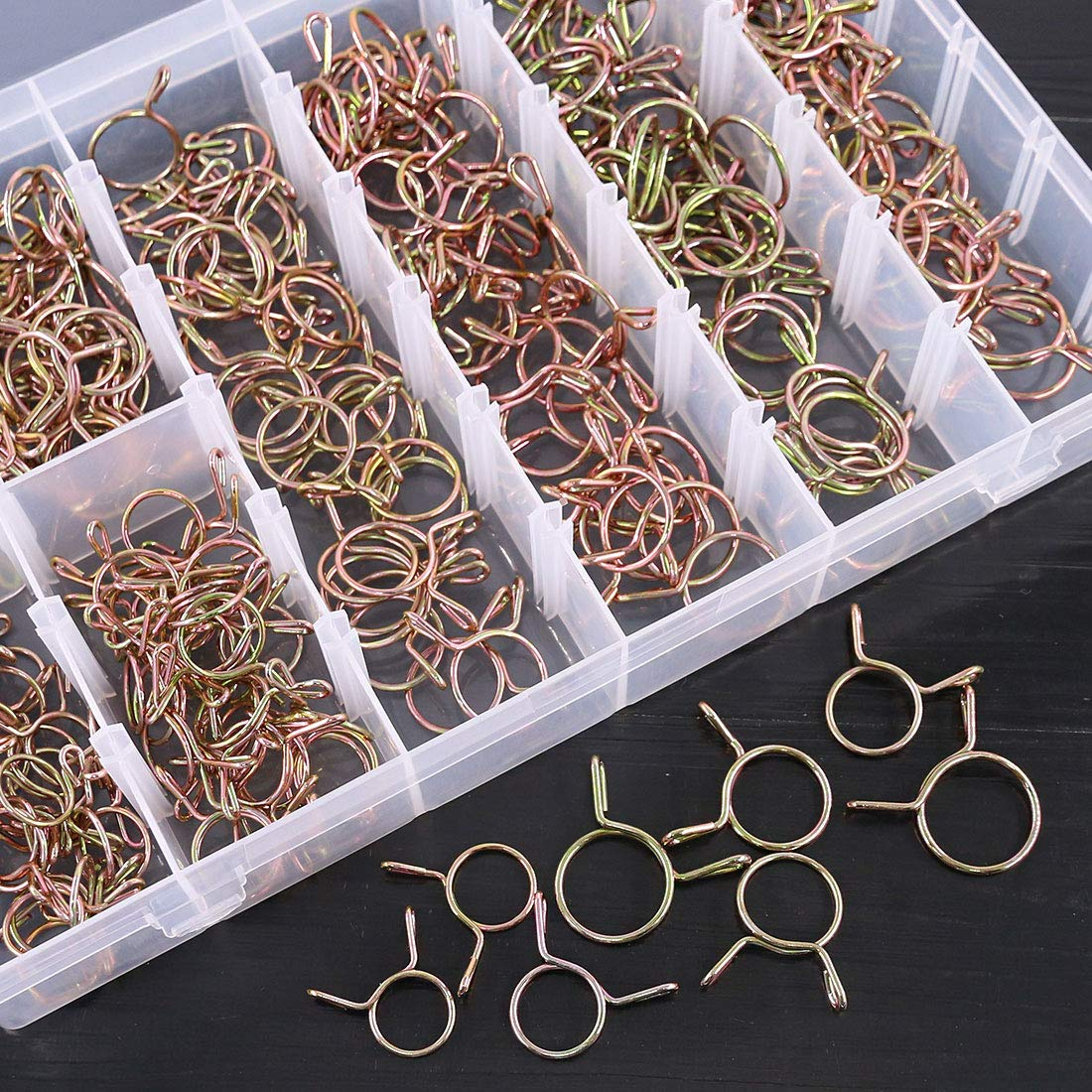 Glarks 240Pcs 8 Size 14-22MM Fuel Line Hose Water Pipe Air Tubing Spring Clips Clamps Assortment Kit for Motorcycle Boat ATVs Scooter