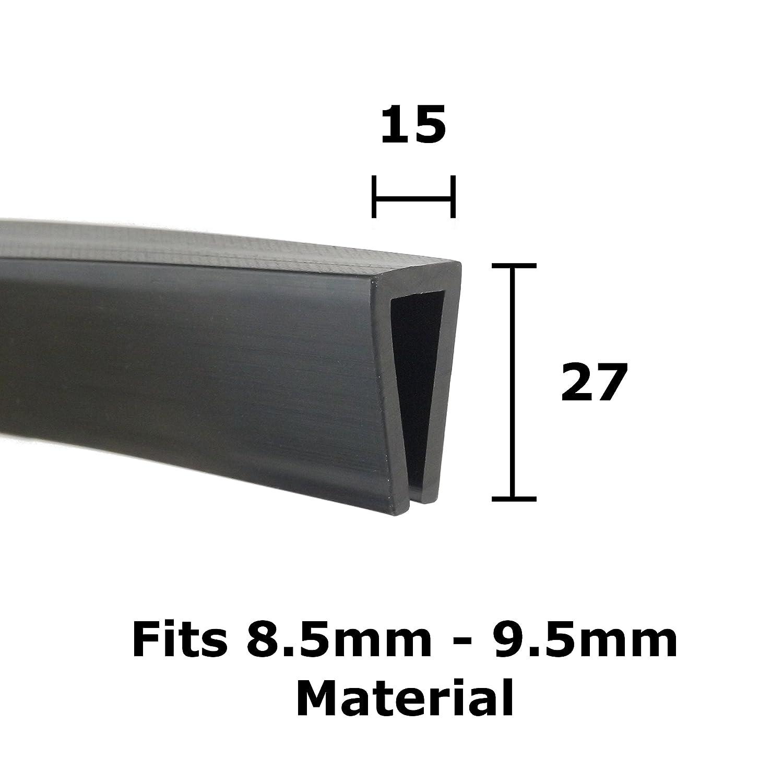 U Abschnitt Schwarz Gummi-Rand Schutz Rand 27/mm x 15/mm