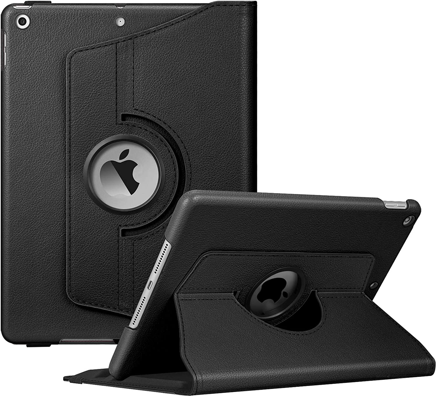 Built-in Pencil Holder 360 Degree Rotating Smart Protective Stand Cover with Auto Sleep//Wake for iPad 10.2 Tablet Fintie Rotating Case for New iPad 7th Generation 10.2 Inch 2019 - Black