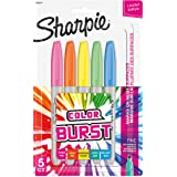 Sharpie Color Burst Permanent Markers, Fine Point, Assorted, 5/Pack (1948352)