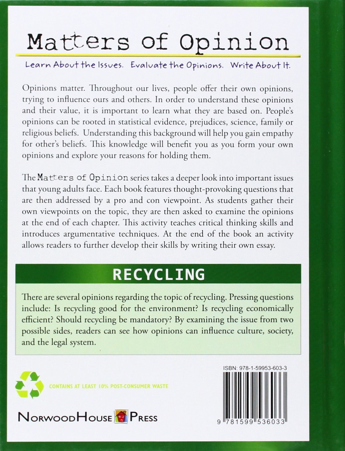 recycling matters of opinion carla mooney 9781599536033 recycling matters of opinion carla mooney 9781599536033 com books