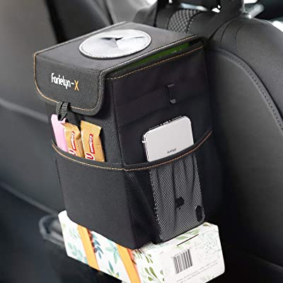 Farielyn-X Car Trash Garbage Bag Can - Car Trash Can with Lid and Storage Pockets Leak-Proof Vinyl: Automotive [5Bkhe1002697]