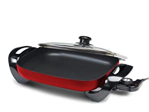 "Elite Gourmet EG-1500R Maxi-Matic Electric Skillet with Glass Lid, 15"" by 12"", Red"