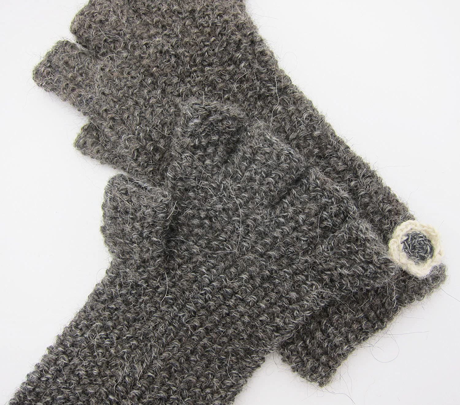 Made to Order Handmade Artisan Pure Alpaca Fingerless Gloves Knitted By Hand