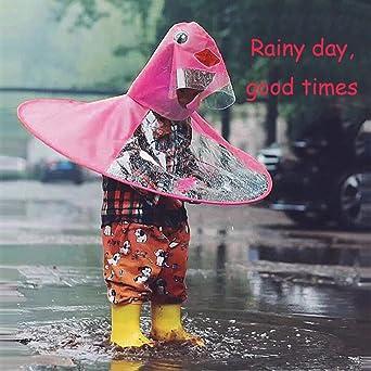 Netter Regenmantel Modische Cartoon-Ente-f/örmige Regenmantel Mit Kapuze Kinder Regenmantel UFO Kinder Regenschirm-Hut Regenmantel S