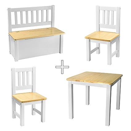 Tavolino con sedie, legno massiccio, Legno di rabando® Natura Bianco ...