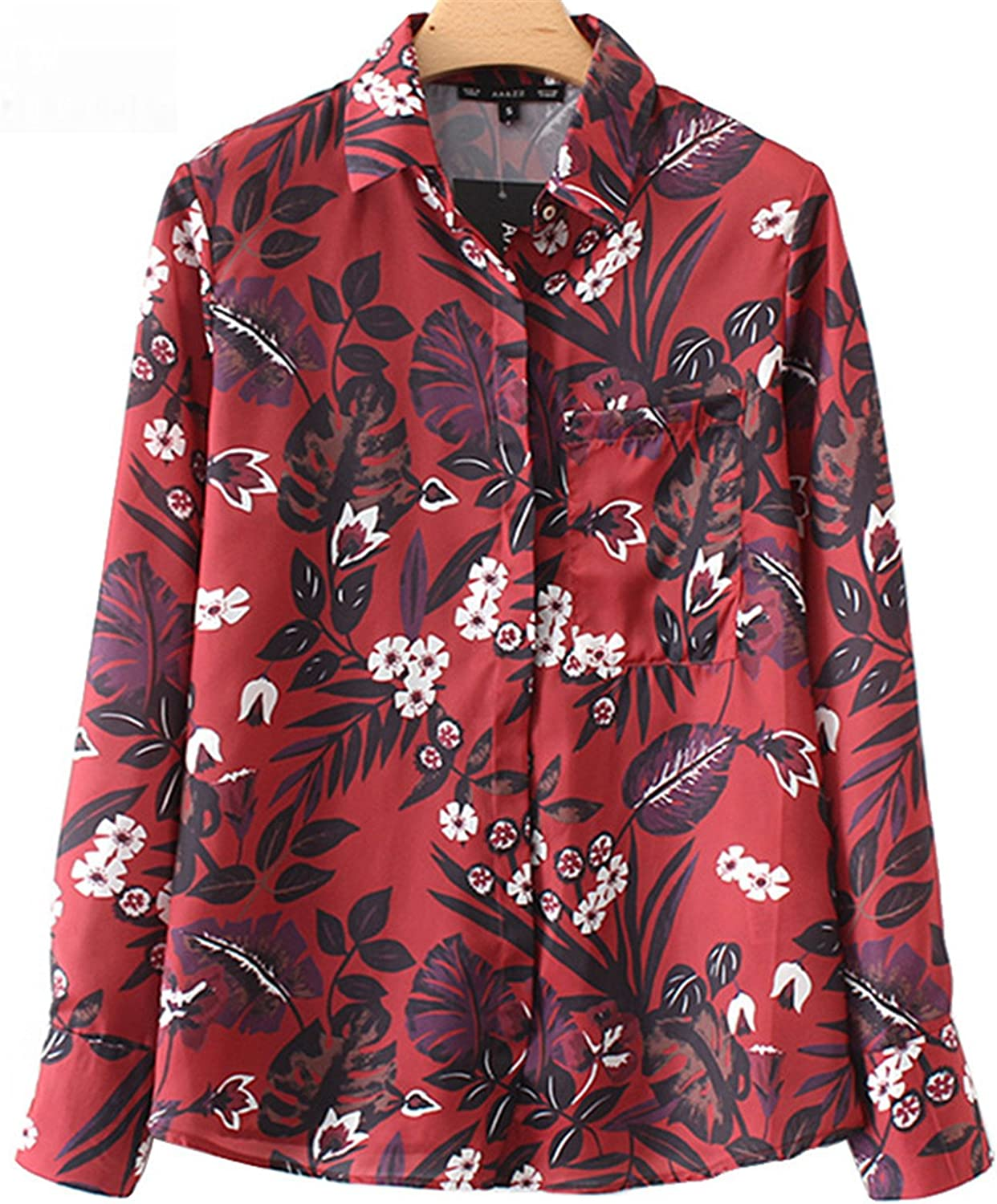 Floral Print Women Blouse Turn-Down Collar Red Shirts Women Autumn Long Sleeve Casual Office Women Tops Xy2963