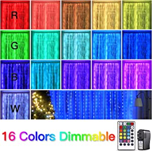 Krislait LED Curtain Lights Color Changing with Remote Plug in RGB Hanging Fairy Twinkle Lights for Bedroom Window Wall Decor Christmas Wedding Party Holiday Outdoor Pergola Patio Gazebo Tree 250 LED