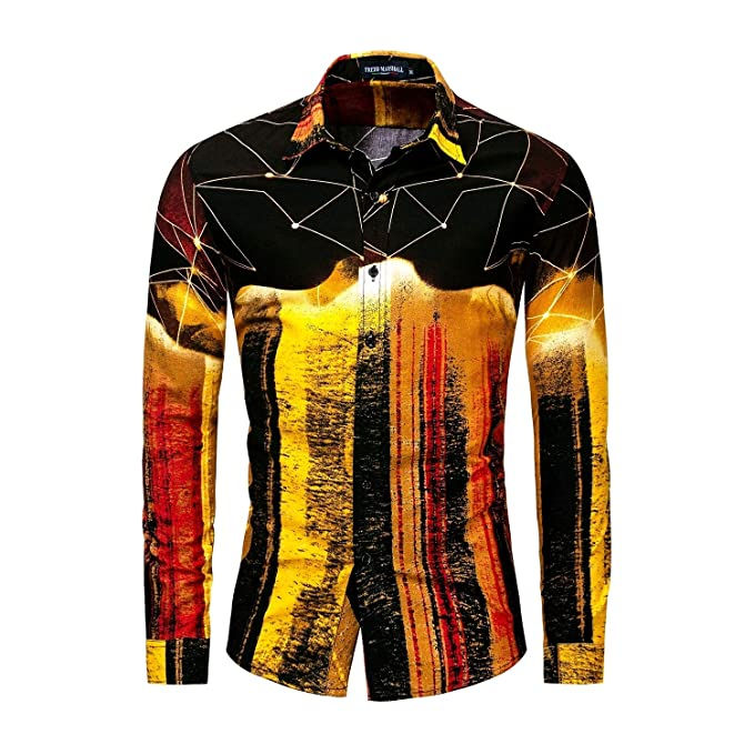 c04a298c2ed Comaba Men Turn Down Collar Digital Printed Oversize Work Shirt Golden S