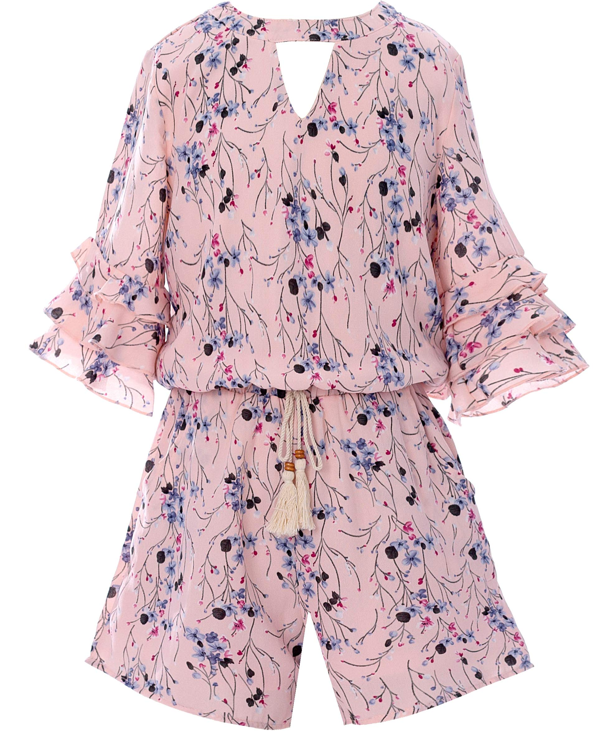 Smukke, Big Girls Floral Printed Tier Ruffle Short Summer Sleeves Romper (Many Options) with Pockets, 7-16 (10, Pink Multi) by Smukke
