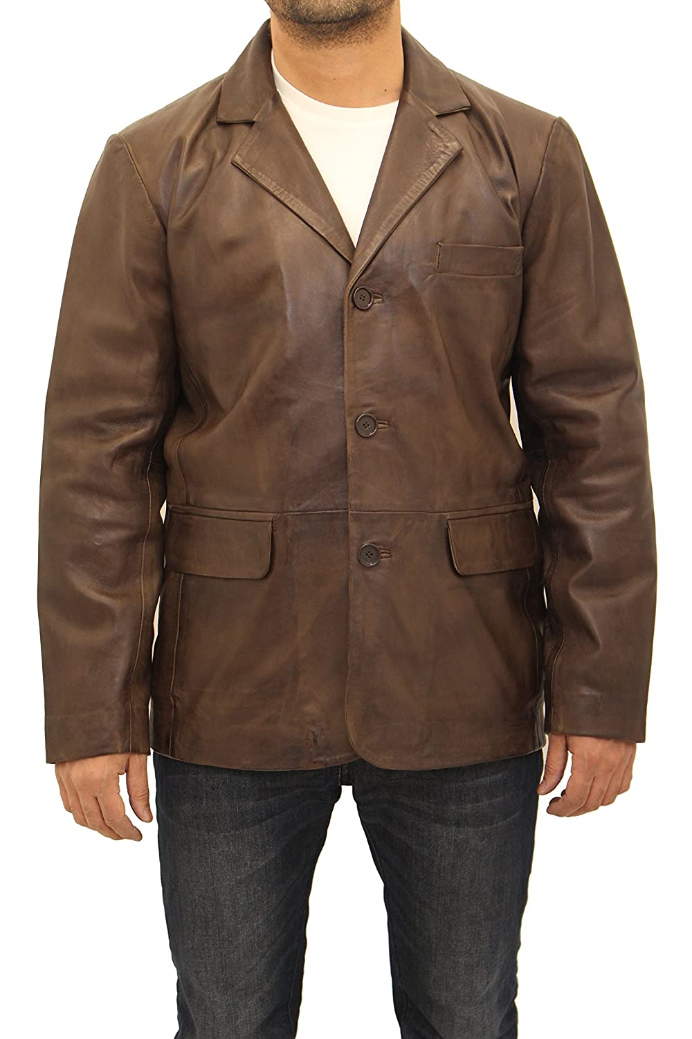 Men's Dark Brown Leather Smart Casual Three Button Classic Fitted Blazer Jacket