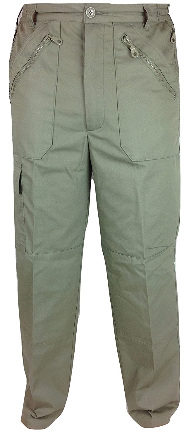 Mens Multi Pocket Combat Action Trousers Size: 30-48 with Zip Pockets Side  Cargo Pocket and Elastic Sides Elasticated self Adjust Pants Bottoms