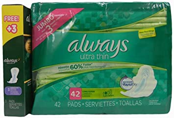 Always Ultra Thin Long/Super Pads with Flexi-wings, 42 Count with Free