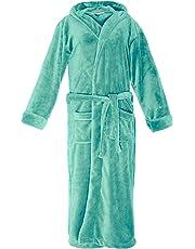 Lumaland peignoir de luxe robe de chambre en microfibre avec capuche et poches pour femme et homme différentes tailles et couleurs