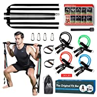Upgraded Pilate Bar with Resistance Bands (60-280 Lbs) –8X Natural Latex Workout Bands for Women & Men– Home Gym Equipment for Yoga Pilate, Stretching, Twisting, Squat, Sculpt with E-Book
