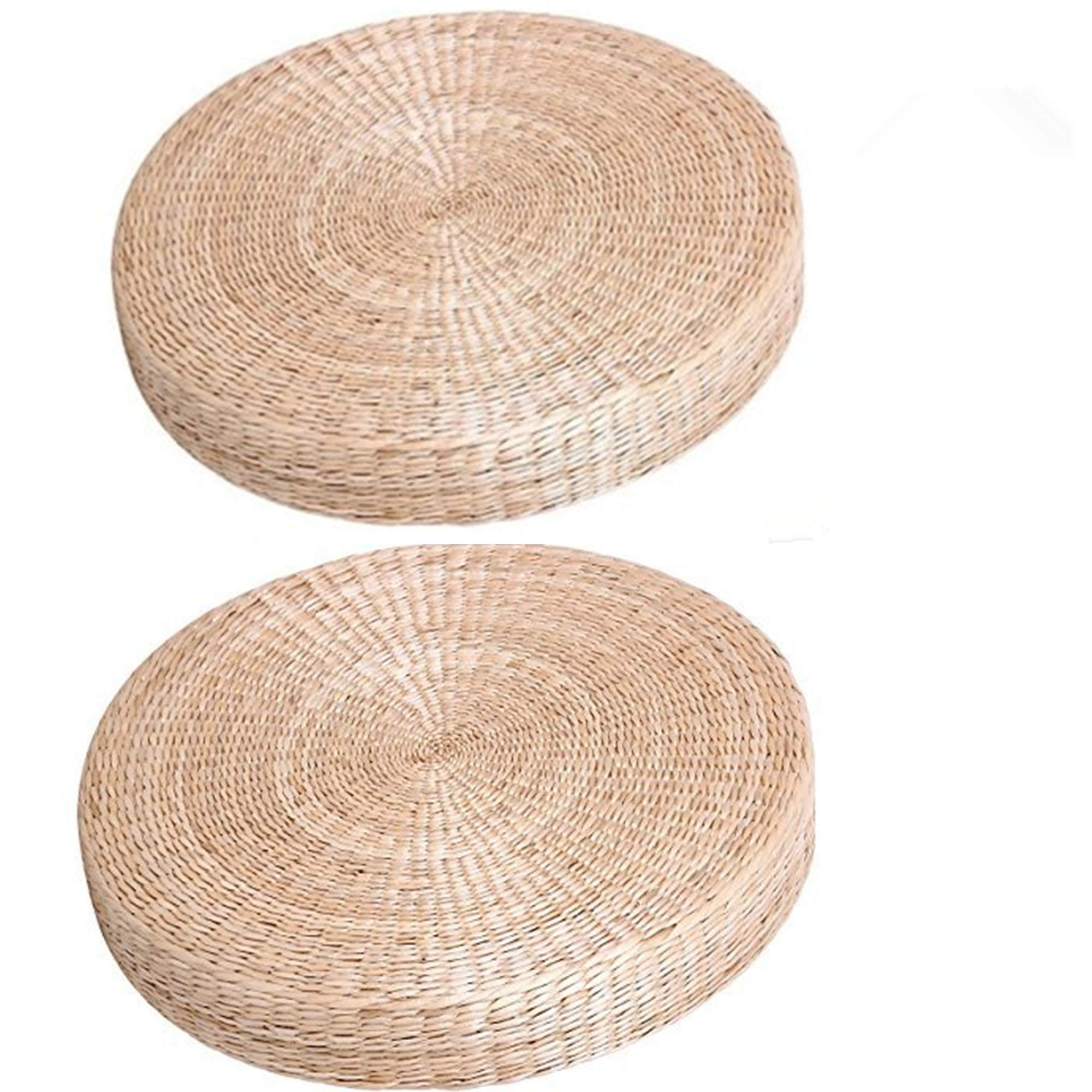 HUAWELL 2 Piece Japanese Tradtional Tatami Floor Pillow Floor Mat Cushion Yoga mat Multi-Functional Handmade Eco-Friendly Breathable Circle Super Big Size (606010cm (23.63.94 Inch))
