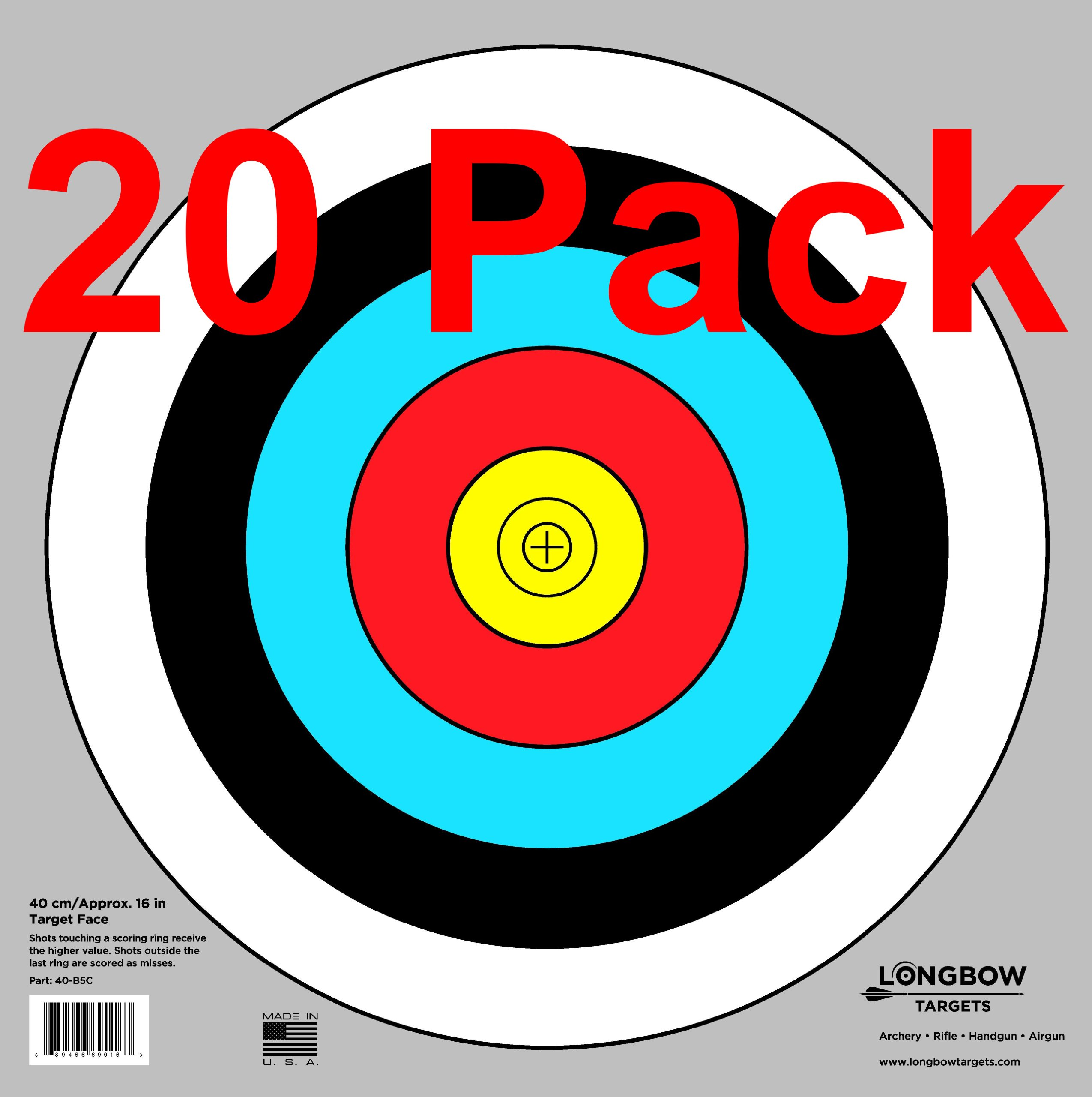 Archery 40cm & 80cm Targets by Longbow (20 pack, 40cm/approx 17'' (5 Ring))