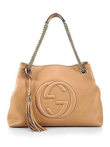 Amazon.com  Gucci Camelia Camel Pebbled Leather Soho Shoulder Hand ... b8c4d5e3e5e75