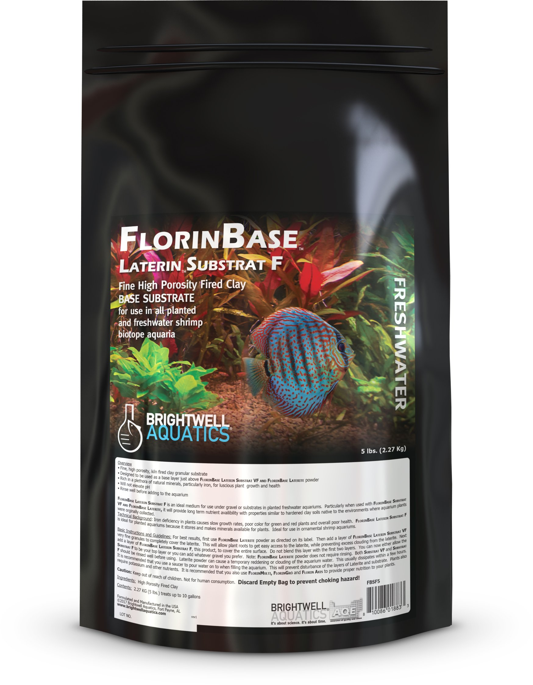 Brightwell Aquatics FlorinBase Laterin Substrat F, Fine Granular High Porosity Clay Base Substrate for use in Planted and Freshwater Shrimp biotope Aquaria, 5 Lbs