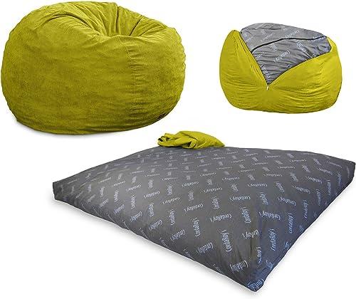 CordaRoy s – Lime Corduroy Convertible Bean Bag Chair – Full