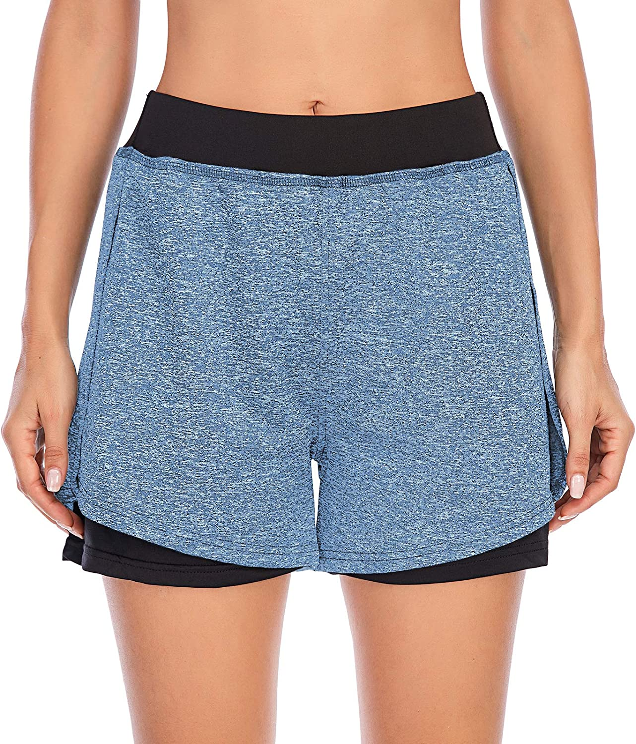 Cucuchy Womens Running Yoga Shorts Double-Layer Athletic Workout Pants with Pocket