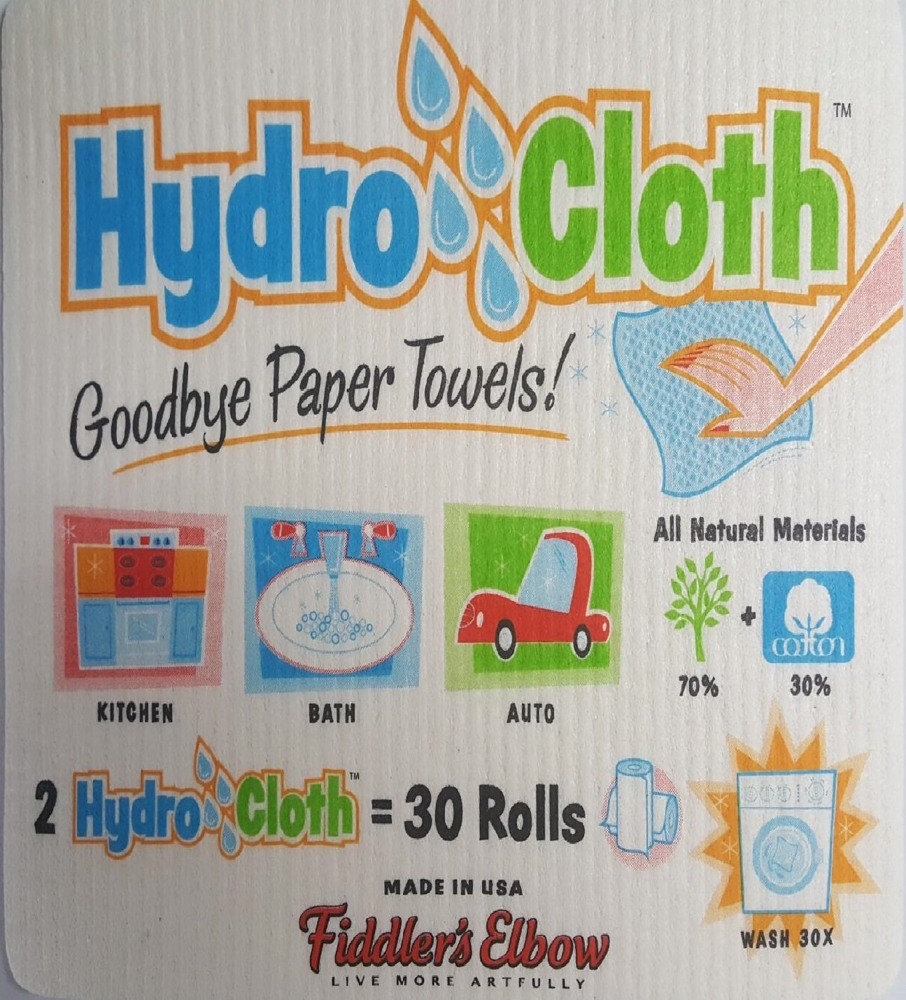 Eco-friendly Sponge Cloths Replaces 30 Rolls of Paper Towels New York Hydro Cloths Fiddlers Elbow Excelsior Reusable Swedish Dish Cloths Set of 2 Printed Sponge Cloths