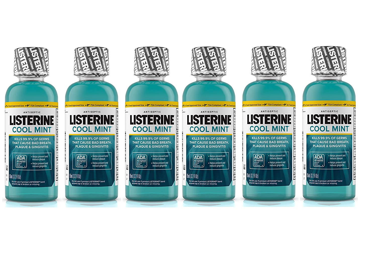 Listerine Cool Mint Antiseptic Mouthwash for Bad Breath, Travel Size 3.2 oz - Pack of 6