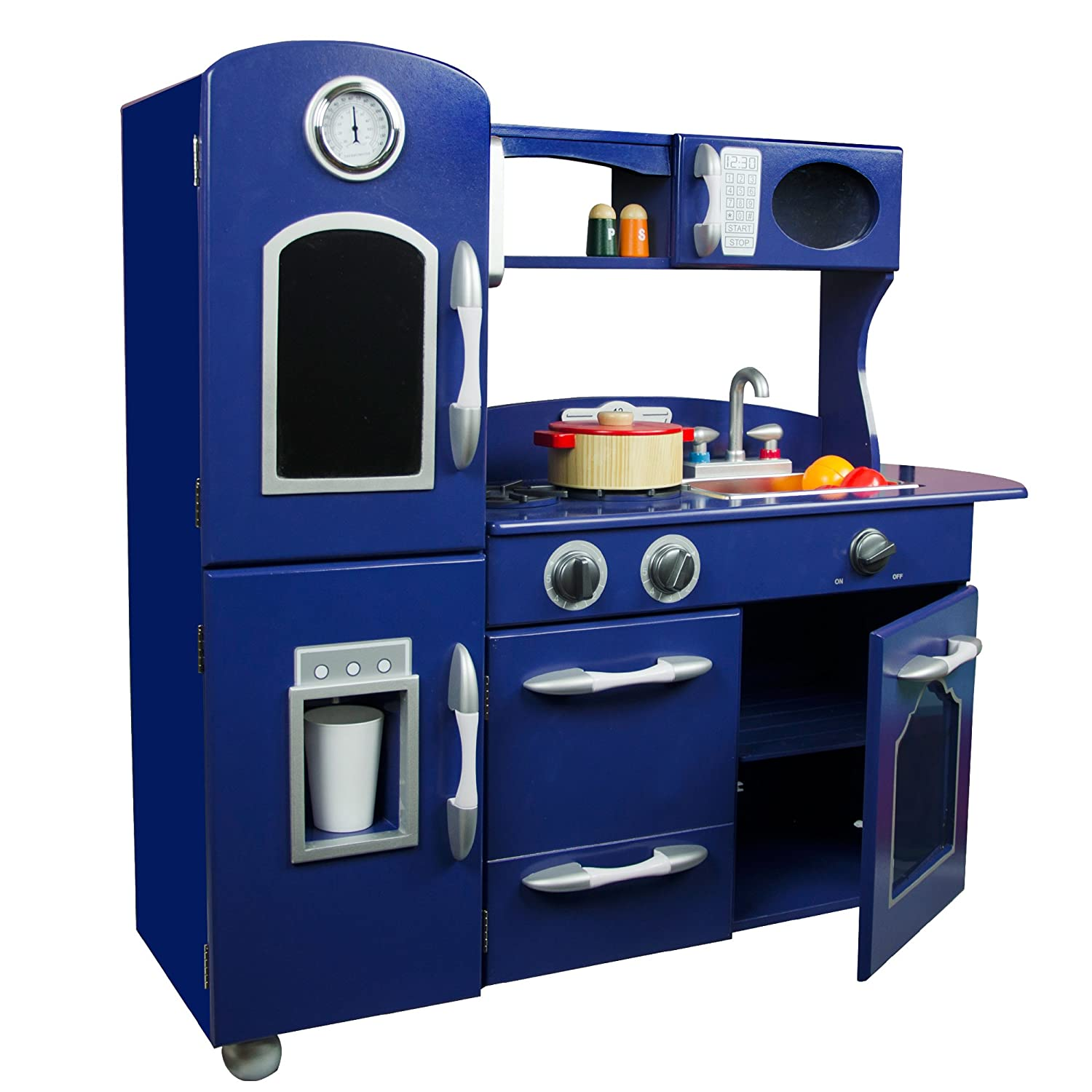 teamson kids  wooden retro play kitchen for toddler with  - teamson kids  wooden retro play kitchen for toddler with chalkboardrefrigerator oven and dishwasher  navy blue ( piece)  pretend playamazoncouk