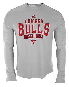 Adidas Chicago Bulls NBA Hombres Manga Larga Camiseta térmica, Color Gris, Gris