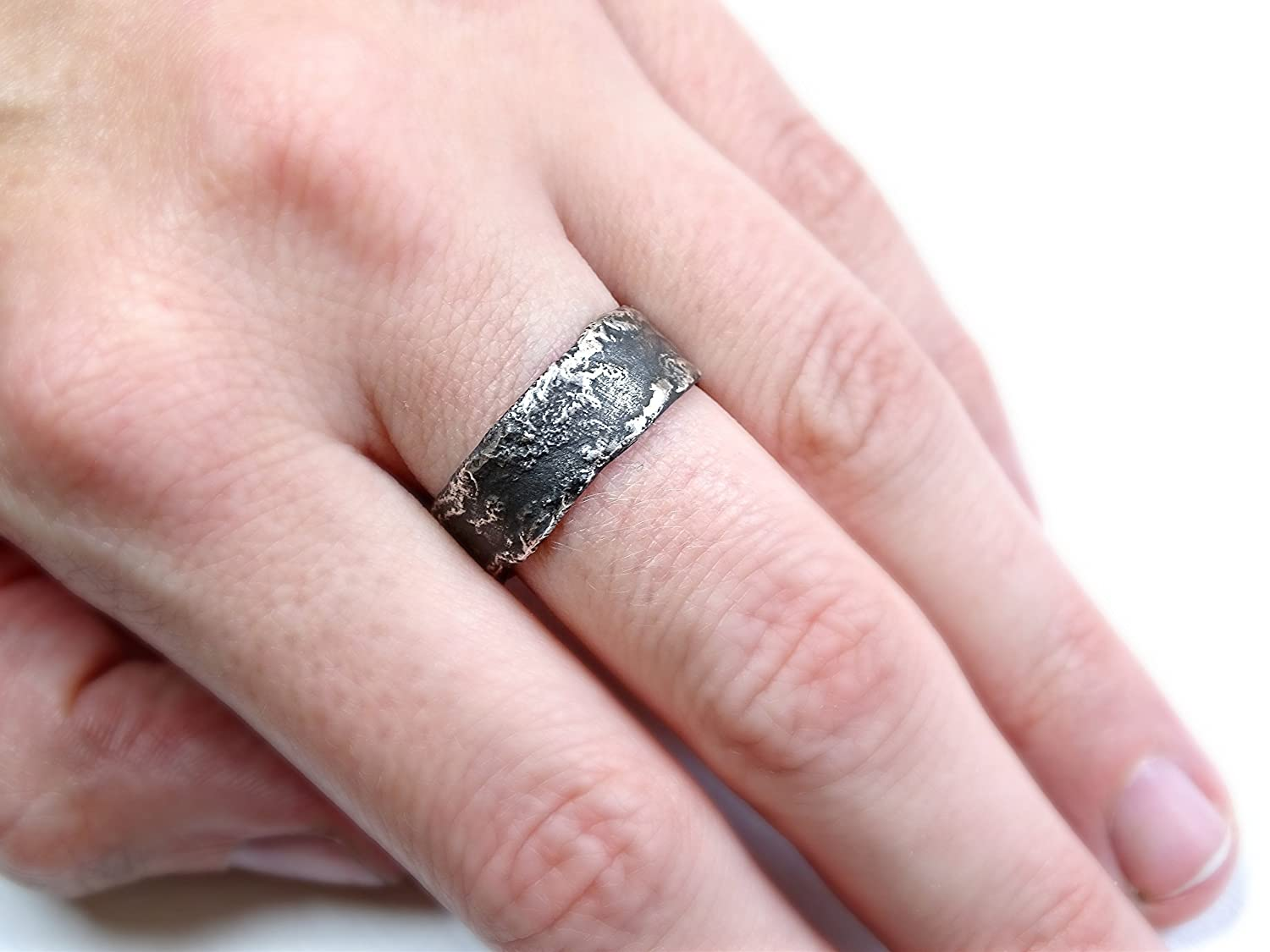 Amazon.com: unique silver ring, silver wedding band, cool men\'s ring ...