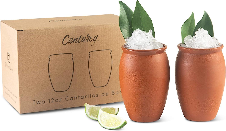 CANTAREY 12oz Cantaritos de Barro - Set of 2 Cocktail Glasses for Tequila, Margaritas, Mojitos and more - Taco Tuesday Cocktail Cups - Mexican Fiesta Jarritos de Barro Mexicanos