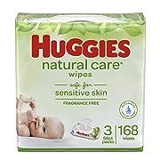 HUGGIES Natural Care Unscented Baby Wipes, Sensitive, Water-Based, 3 Packs, 9 Total Flip Top Packs, 504 Count