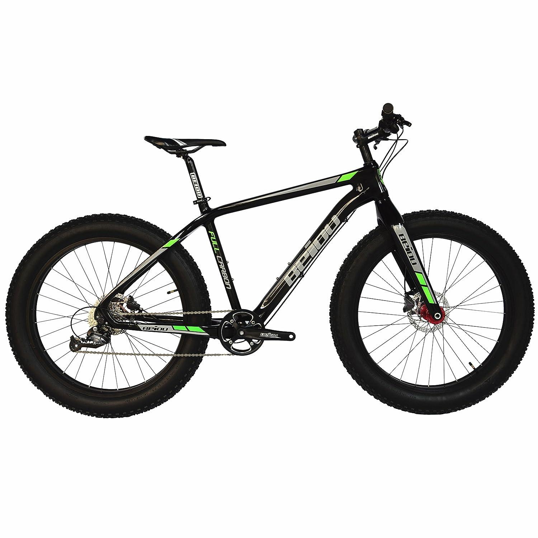 2017 BEIOU® フルカーボンファットタイヤ自転車ファットマウンテンバイク26インチ4.0インチタイヤマウンテンバイクSHIMANO ALTUS 9スピード14.5kg T700光沢3K CB023 [並行輸入品]