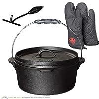 Grill Gusseisen XL Schwarz Grill günstig kaufen Garten Camping Picknick ✔ Deckel ✔ rund ✔ tragbar ✔ Grillen mit Holzkohle