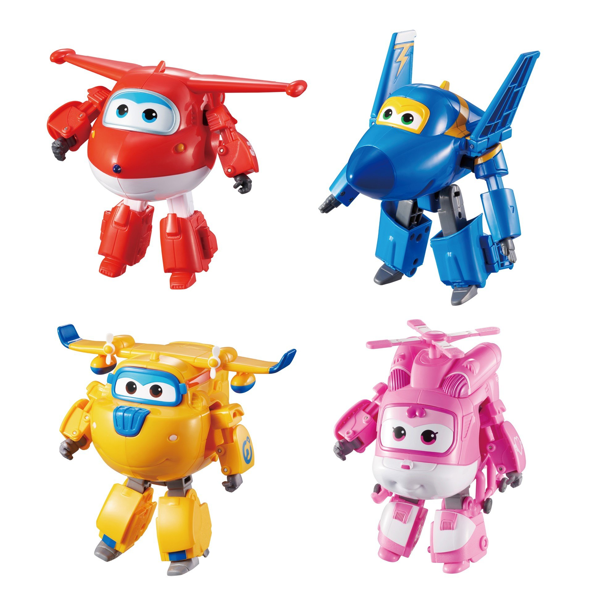 Super Wings Transforming Toy Figure 4 Pack | Jett, Donnie, Dizzy, and Jerome | , 5'' Scale