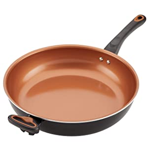 Farberware Glide Copper Ceramic Nonstick 12.5-Inch Deep Skillet, Frying Pan with Helper Handle, Black