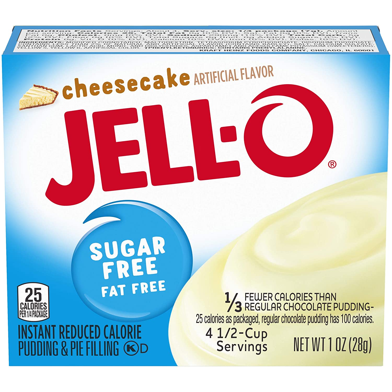 Jell-O Instant Pudding & Pie Filling, Cheesecake Sugar Free, 1 oz