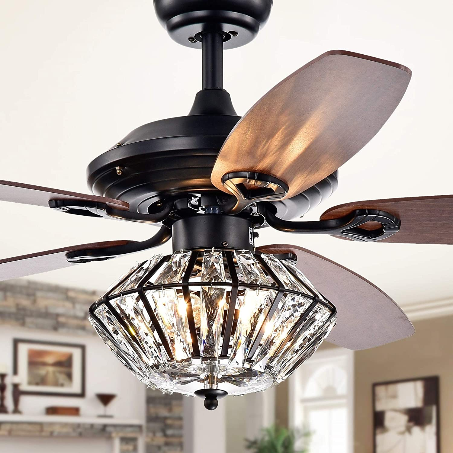 Black Ceiling Fan with Light Kit Crystal Chandeliers Fan Light 52 Metal Indoor Mute Quiet 5 Reversible Blades Remote Control Ceiling Fan Light 52-Inch Living Room Bedroom Crystal Fan Light