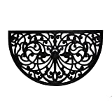 """Iron Gate - Half Round Scroll Damask Doormat - Cast Iron Vulcanized Rubber Outdoor Mat 18"""" x 30"""" - 1/2 Inches Thick - 100% Rubber Construction"""