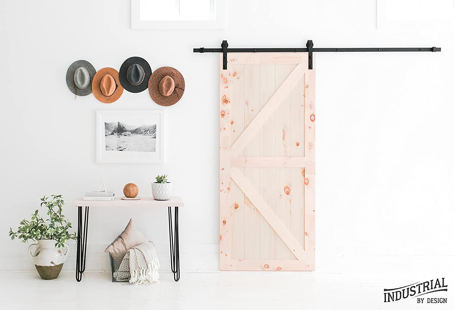 100/% Steel Designed in USA Ultra Smooth and Quiet INDUSTRIAL BY DESIGN 10ft Heavy Duty Double Sliding Barn Door Hardware Kit Easy Installation Supports 250 lbs