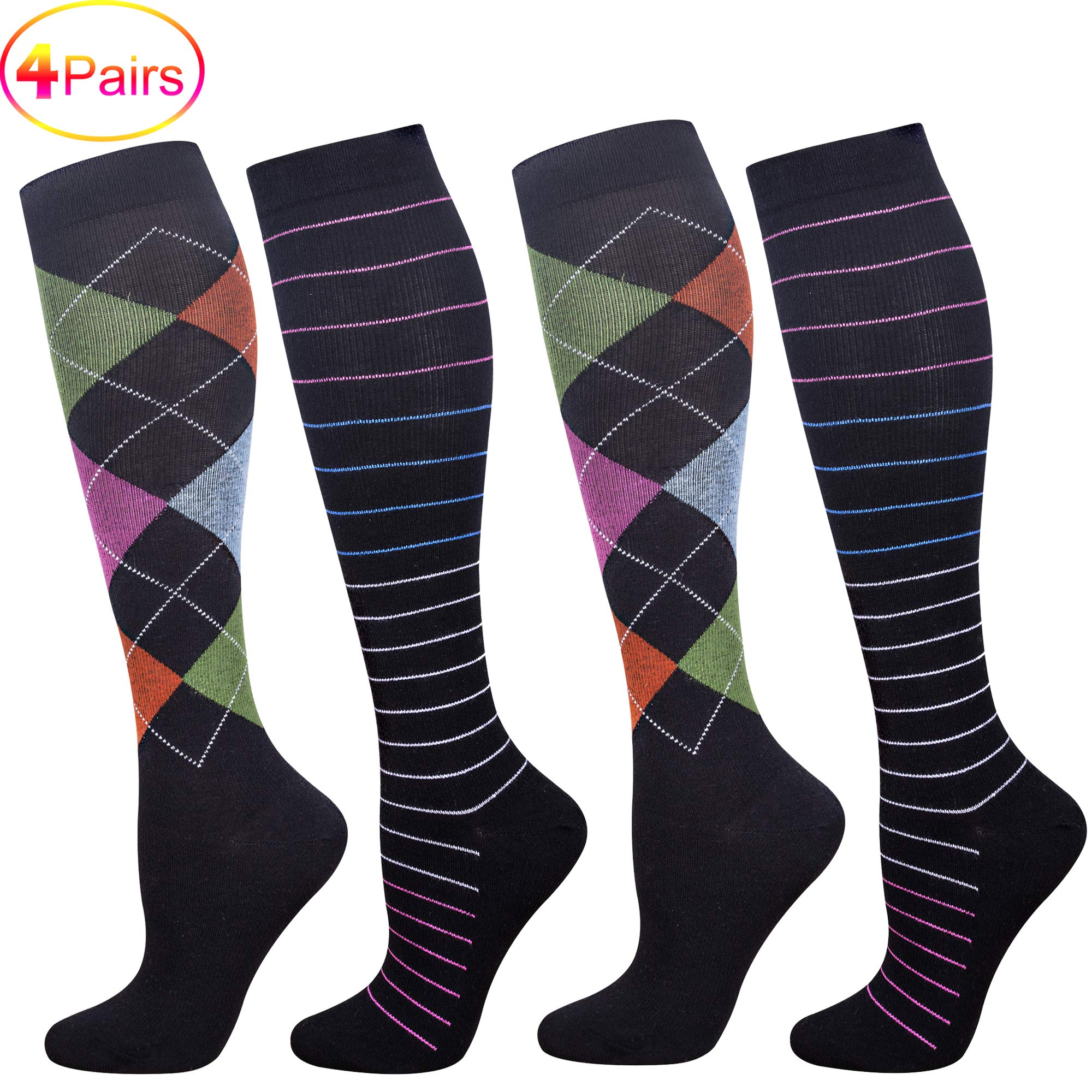 Compression Socks for Women with Firm Medical Grade(20-30 mmHg), Fits for Nurse, Pregnancy, Flight Travel and Varicose Veins(2 Pairs) (Pack G 4 Pairs, L/XL)