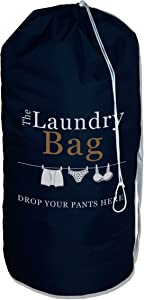 The Fine Living Company USA - Drop Your Pants Here Laundry Bag - 2 Shoulder Straps - Strong - Tough - Durable - XLarge Size - Perfect For College Dorm | Backpack | Travel
