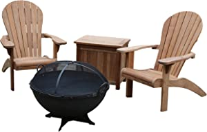 TITAN GREAT OUTDOORS Grade A Teak Adirondack Chairs 32 in Hemisphere Fire Pit and Ice Chest